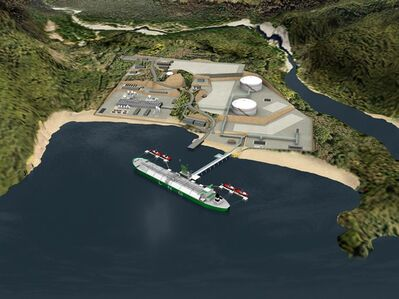 An artist's rendering of a planned export terminal in Kitimat, British Columbia is seen in this handout. THE CANADIAN PRESS/HO - Encana Corp