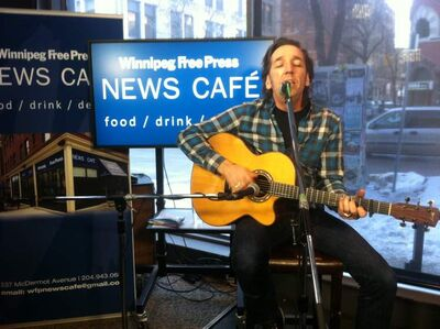 Stephen Fearing performs at the Winnipeg Free Press News Café.