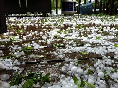 Hail, such as seen here from a storm last year, can damage vehicles, and MPI has opened a special claims centre.