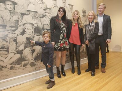 JOE BRYKSA / WINNIPEG FREE PRESS</p><p>Left to right: Cole Davidson, 4, (great-great-grandson of Harry Colebourn), with curator Irene Grammel, Lindsay Mattick (great-granddaughter of Harry Colebourn), Laureen Mattick (granddaughter of Harry Colebourn) and Rob Maycher (great-grandson of Harry Colebourn) at the opening of Remembering the Real Winnie, in the Pavilion galleries in Assiniboine Park.</p>