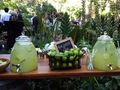 This Sept. 1, 2012 photo provided by Brittell Public Relations shows a table displaying a Margarita Bar for guests at the wedding of Elana Kopstein and Patrick Free held at a private estate in Sonoma, Calif. (AP Photo/Brittell Public Relations, Mary Ellen Murphy)