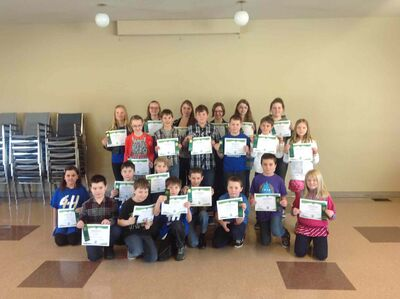 Headingley 4-H Club members show the certificates and ribbons they received through participating in their club's Communications Event on March 2.