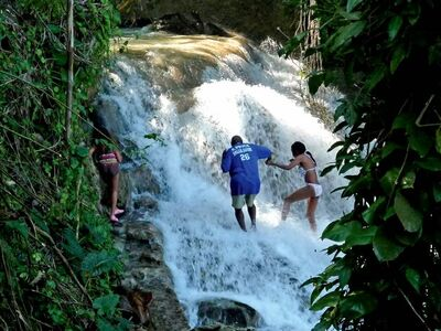 Kids have no problem climbing Dunn's River Falls, but take a guide.