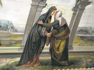 Mary's Visitation with Elizabeth was painted directly onto the wood of the ceiling.