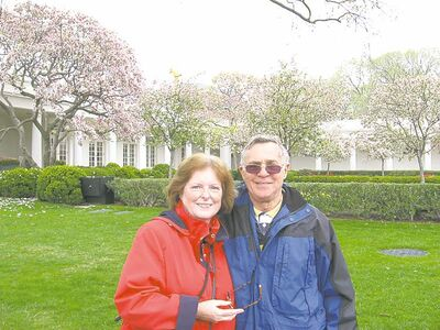 Michael Prentice and wife Marie-Louise Seymonsbergen visited the gardens outside the Oval Office.