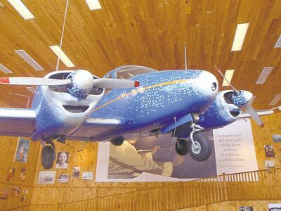 Katharine FletcherSwami Vishnudevananda�s Peace Plane, painted by Peter Max, is housed in an outbuilding at the camp.