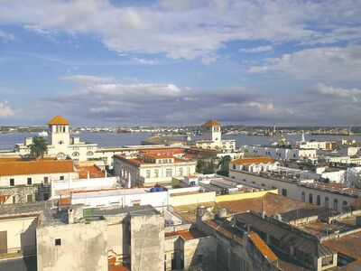The view of Havana from the top of the Gomez Villa building on the corner of the Plaza Vieja.