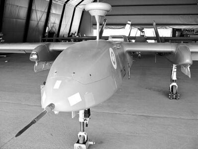 KANDAHAR AIRFIELD, AFGHANISTAN: JULY 18, 2011 -- One of the Canadian Forces�  fleet of three reconnaissance UAVs named the CU-170 Heron sits in a hangar at Kandahar Airfield, Afghanistan July 18, 2011.     (William Marsden / Postmedia News)       For William Marsden (Postmedia News) AFGHAN-DRONES