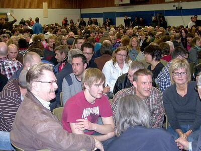 About 1,200 gathered at Steinbach Christian High School for Bill 18 prayer meeting.