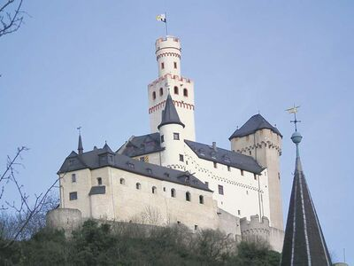 Marksburg Castle is a medieval remnant on the banks of the river Rhine.