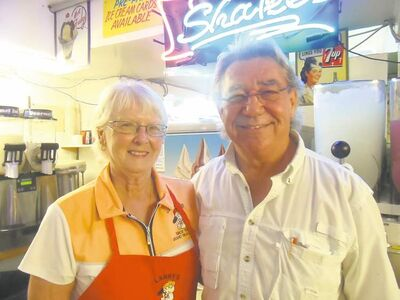 Emil and Trish Seniuk own Lanky�s ice cream and burger stand.