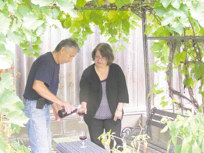Frank and Ricki Ferlaino enjoy a glass of homemade wine in their Winnipeg backyard beneath a grapevine-covered arbor. Wine-lovers can order imported grapes for winemaking if their harvest of homegrown grapes is not enough for winemaking.