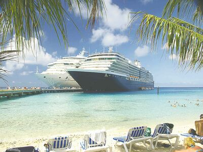 Two cruise ships docked at the pier on Grand Turk Island.