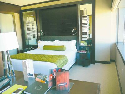 Rooms at the Vdara in Vegas are sleek and modern.