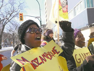 Roxana Obasi and Gertrude Hambira rally for women's rights in Mozambique and Guatemala.