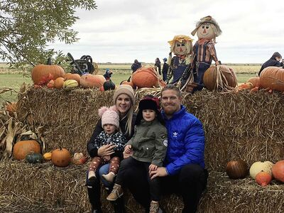Winnipeg Blue Bombers Adam Bighill, wife Kristina, son A.J. and daughter Leah.