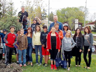 Participants in Jubilee Mennonite Church's Amazing Race, held on May 25, are shown after their travels around town.