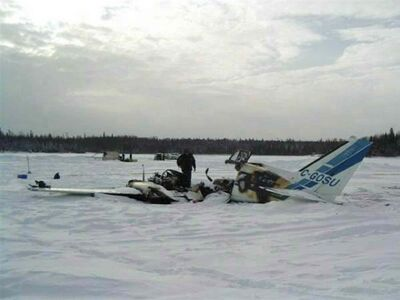 The wreckage of a small plane crash in North Spirit Lake, Ont. that killed the pilot and three passengers in January, 2012.