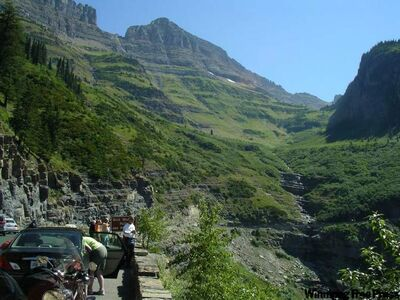 People take in the view on the Going-to-the-Sun Road in Glacier National Park, Montana.