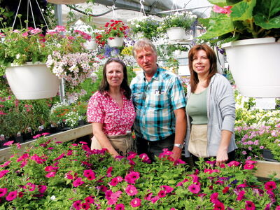 (Left) Joan and Don Paterson and Angie Sveinson are ready to meet this season's gardening needs at D.J. Paterson Garden Centre.