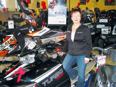 Jill Ruth, owner of the Headingley Sport Shop, hopes snow keeps falling to help boost snowmobile sales.