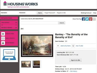 This Wednesday, Oct. 30, 2013 screen shot, made with permission from Housing Works, shows their website featuring a auction for a painting which includes an addition to the scene by the secretive British graffiti artist Banksy. After buying a painting of a pastoral scene for $50, Banksy donated it back to the Housing Works thrift shop in New York where he bought it— but only after reworking it, adding a Nazi soldier to the scene. The 23rd Street Housing Works store is auctioning the painting. (AP Photo/Housing Works)