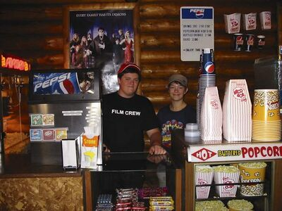 Michael Allen, of Duncan, B.C., and Lauren Gowler staff the theatre's concessions stand. Lauren also runs the projector. Allen is staying with his grandmother this summer and works at the theatre.