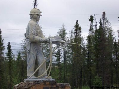 The King Miner statue was erected to celebrate Thompson's 25th anniversary.