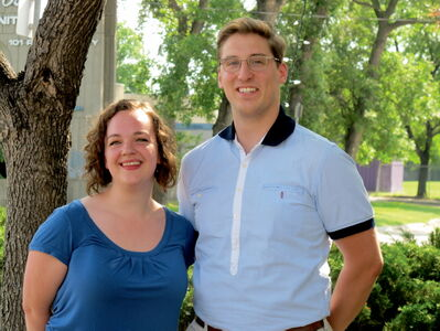 Victoria Marshall, 21, on left with Simeon Rusnak, 21 of the University of Manitoba Singers choral ensemble. Both students are heading into their fourth year in U of M's Faculty of Music.
