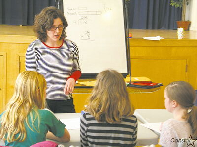 Anna Stokke teaches some of the students at Archimedes Math Schools, which she started in 2012 with her husband, Ross.