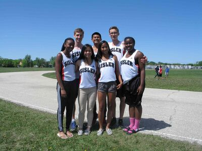 The Sisler Spartans won 19 medals at the provincial track and field championships. Top row from left: Michael Medal, Jamie Dumaran and Zachary Medal, Bottom row from left: Brianna Tynes, Ashley Victoria, Geselle Dela Merced and Kyanna Giles.