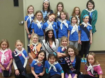 La Salle Sparks, Brownies and Guides are shown with Miss Teen Manitoba Alyssa Wyspianski after she gave an anti-bullying presentation to the group on Feb. 18.