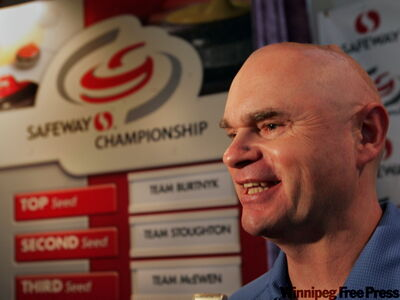 Top seed skip Kerry Burtnyk speaks at a press conference announcing the top seeded teams in the 2009 Safeway Championship which will take place  Wednesday, Feb. 18 to Sunday, Feb. 22  at the Selkirk Recreation Centre.