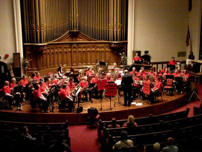 The Westwood Community Band is pictured playing at the Canadian Mental Health Association (CMHA) benefit concert at Westminster United Church on May 24, 2013. The band will be performing at Golden West Centennial Lodge on Feb. 27.