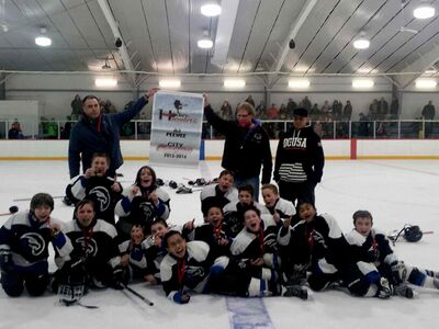 The Heritage-Victoria Hawks 11A3 hockey team went undefeated in 18 games this season to capture the St. James-Assiniboia Minor Hockey Association minor peewee championship. Back row: Assistant coach Brent Luke, head coach Bill Muloin, assistant coach Mike Cuthbert. Middle row: Jacob Morlock-Tellier, Cian Shaw, Aiden Smith, Brady Rands, Ethan Maurstad. Front row: Daniel Muloin, Troy Allard, Evan Luke, Nicholas Hnatiuk-Nash, Caleb McIntyre, Noah Vendramelli, Tristan Hamilton, Angelo Amarilo, Fionn Forbes. Coach Muloin is seen sporting a pink beard to fulfil a bet with his team that he'd dye it if they made it to championships.