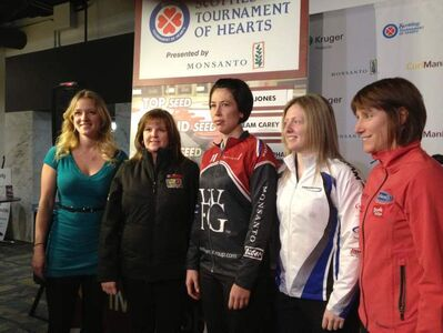 Manitoba curlers Chelsea Carey,  Barb Spence, Jill Officer, Ashley Howard, and Janet Harvey at the Scotties Tournament of Hearts kickoff press conference.