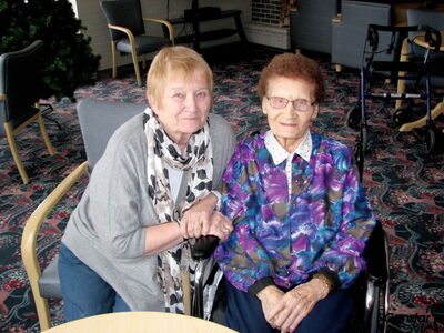 Anne Wowk, right, seen with daughter Sonia Rogowski, will be turning 100 years old on Dec. 9.