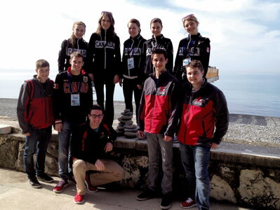 The Canadian junior men's and women's curling teams take a break from the pebble in Sochi, Russia.