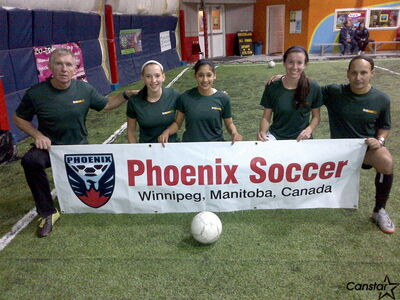 Phoenix Soccer general manager Kenny Brannigan (from left), along with players Megan Diamond, Jasmine Lotey and Brooke Richtik, and assistant club coach Rocky Moudgill are in London for a soccer showcase.