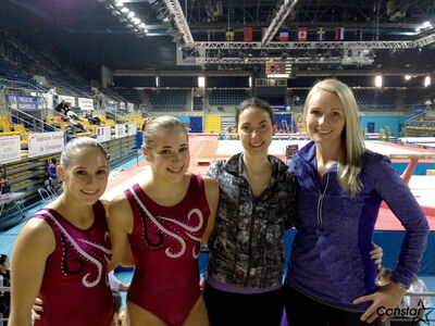 Springers gymnasts Sydney McEachern (from left) and Natalie Gervais, along with coaches Rachelle Valel and Brooke Merrifield at the Massilia Cup in Marseille.