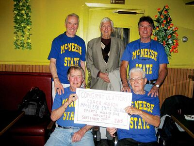 Manitobans who ran for McNeese State University in Louisiana recently gathered in Winnipeg to celebrate the induction of their old coach, Wayne Hanson, into the school's hall of fame. Back row (left to right): Al McLean, Jim Daly, Gerry Graham; Front: Jack Frater, Stan Korowski.