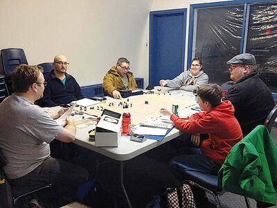 A group of enthusiasts play Pathfinders Society, a role-playing game, on Sat., March 29 at Elie Community Centre.