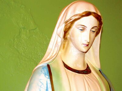 The statue of the Blessed Virgin Mary at the Immaculate Conception Ukrainian Catholic Church in Cooks Creek, Man.