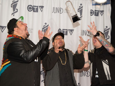 Ottawa trio A Tribe Called Red hams it up after winning the Juno for Breakthrough Group of the Year for their unique mix of powwow and electro.