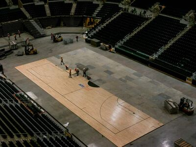 MTS Centre crews work to change the look of the facility.