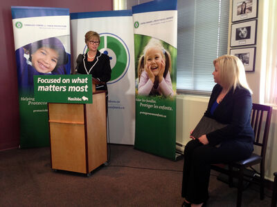 Education Minister Nancy Allan and Lianna McDonald (right), executive director, Canadian Centre for Child Protection, announce programs to help combat cyberbullying.