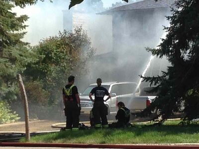 Crews battle a house fire on Nichol Avenue in St.Vital Friday afternoon.