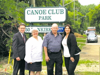 From left: Coun. Brian Mayes (St. Vital), MLA for Riel Christine Melnick, Canoe Club board member Bob Giasson and Canoe Club general manager Jenna Moore.