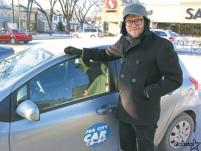 Peg Car Co-op's Aaron Russin pictured with one of the organizations's three cars at Safeway at 655 Osborne St.