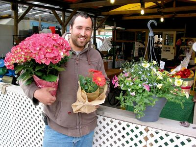 Daniel Rémillard, 32, pictured with some plants at Jardins St. Léon Gardens the night before the outdoor market was set to open for the season.